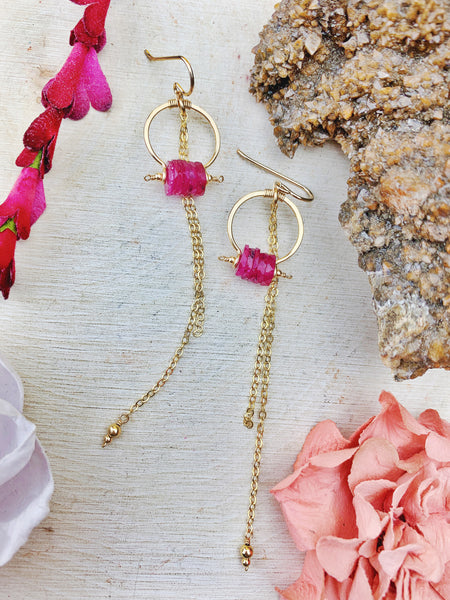 Duches Earrings - Pink Sapphire Disks 14k Gold Filled Hoops with Chain Cascade