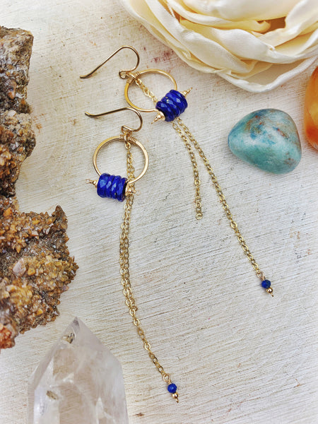 Duches Earrings - Lapis Lazuli Disks 14k Gold Filled Hoops with Chain Cascade