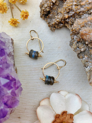 Kiki Earrings - Faceted Disk Stack 14k Gold Filled - The Bead N Crystal & Enclave Gems