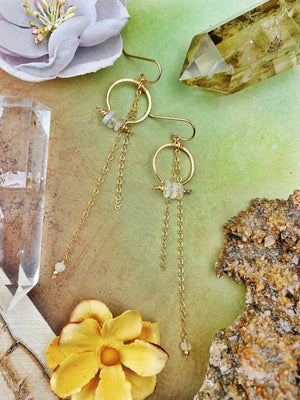 Duches Earrings - Rainbow Moonstone Disks 14k Gold Filled Hoops with Chain Cascade - The Bead N Crystal & Enclave Gems