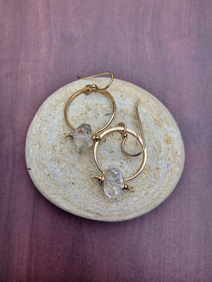 Benny Earrings - Large Herkimer Diamond Quartz Med Hoops - The Bead N Crystal & Enclave Gems