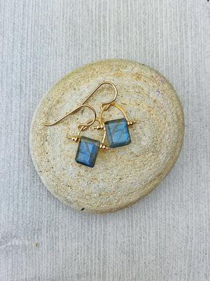Lillee Earrings - 14k Gold Filled Frames Labradorite and Blue Topaz - The Bead N Crystal & Enclave Gems