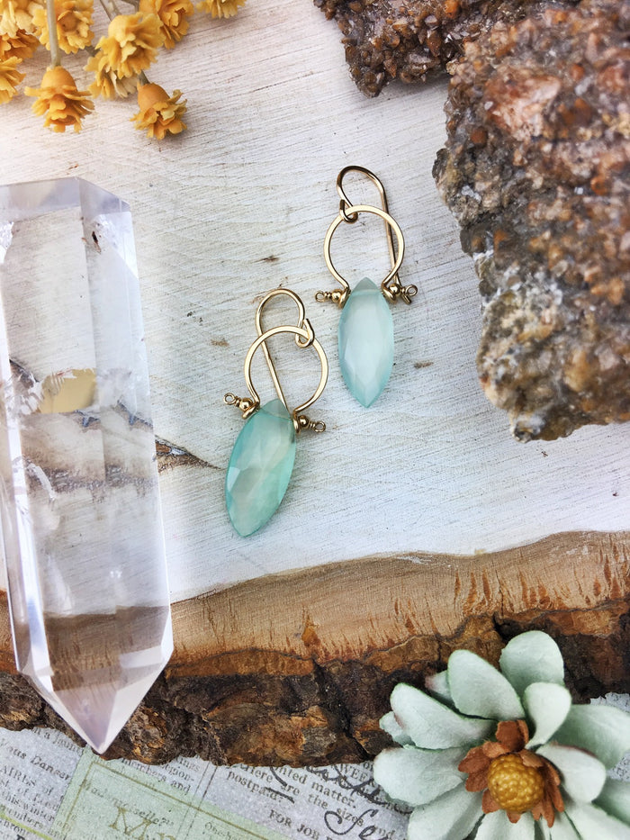 Sydney Earrings - 14k Gold Fill Frames Faceted Chalcedony Marquis