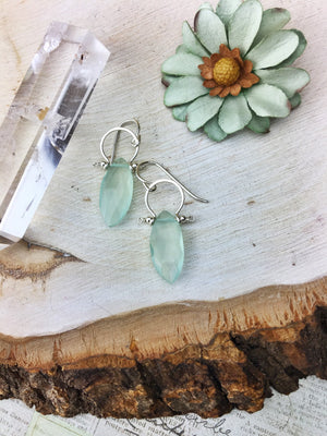 Sydney Earrings - Sterling Silver Frames Faceted Chalcedony Marquis - The Bead N Crystal & Enclave Gems
