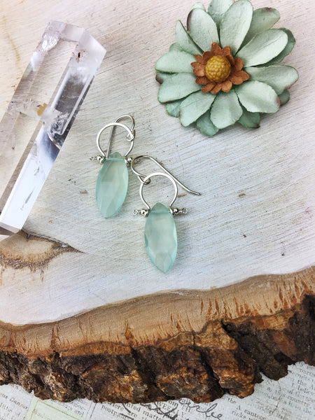 Sydney Earrings - Sterling Silver Frames Faceted Chalcedony Marquis