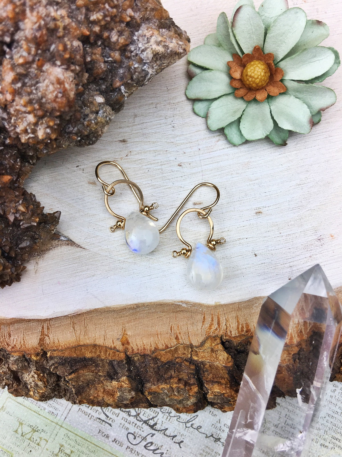 La Luna Bella Earrings 'A' - Moonstone 14k Gold Fill Frames
