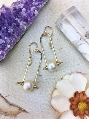 Hildur Earrings 'A' - Freshwater Pearl 14k Gold Filled Frames - The Bead N Crystal & Enclave Gems