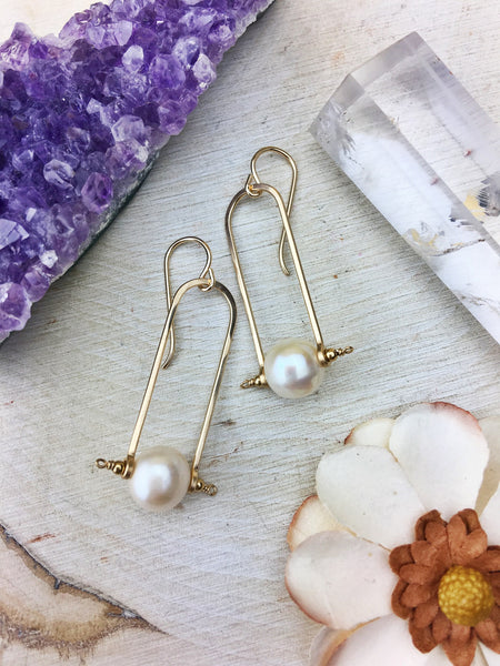 Hildur Earrings 'A' - Freshwater Pearl 14k Gold Filled Frames