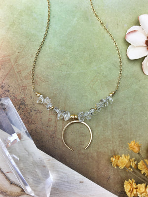 Berzerker Necklace - Herkimer Diamond 14k Gold Fill Crescent Chain - The Bead N Crystal & Enclave Gems