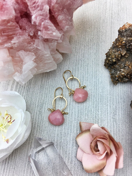Fifi Earrings - Faceted Pink Opal Briolette Cut Natural Teardrop 14k Gold Filled