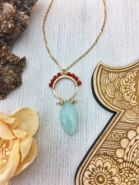Sydney Necklace - 14k Gold Filled Frames Faceted Chalcedony Marquis /w Carnelian
