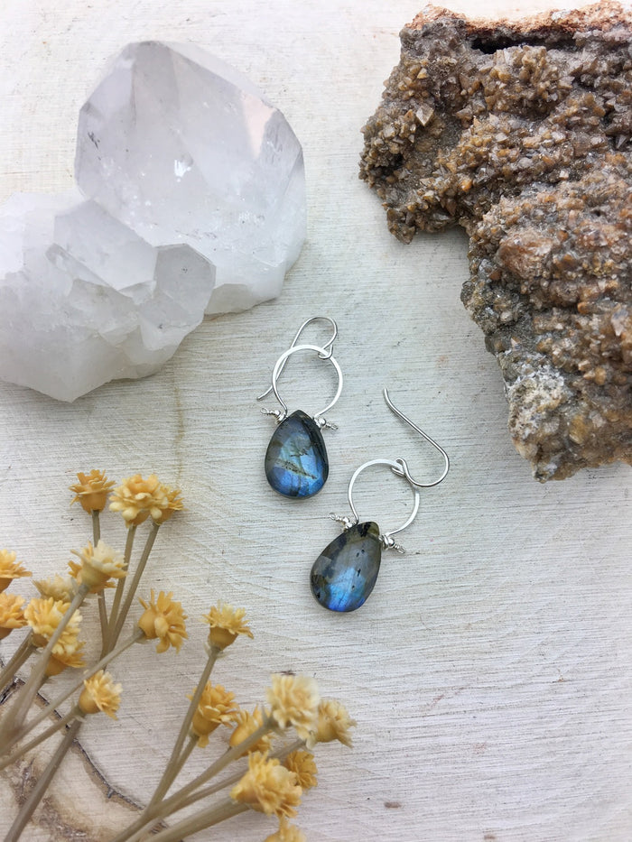 Fifi Earrings - Faceted Labradorite Briolette Cut Natural Teardrop Sterling Silver