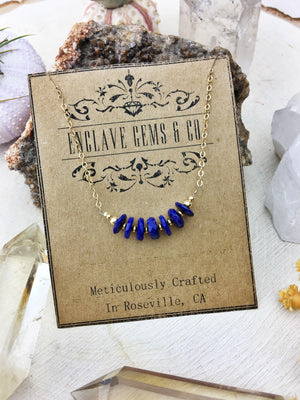 Aurora Necklace - Lapis Lazuli Faceted Slices 14k Gold Filled Necklace - The Bead N Crystal & Enclave Gems