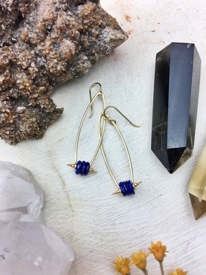 Borealis Earrings - Lapis Lazuli Disks 14k Gold Filled Modern Framework - The Bead N Crystal & Enclave Gems