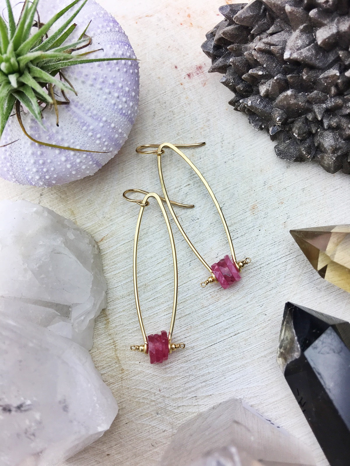 Borealis Earrings - Pink Sapphire Disks 14k Gold Filled Modern Framework