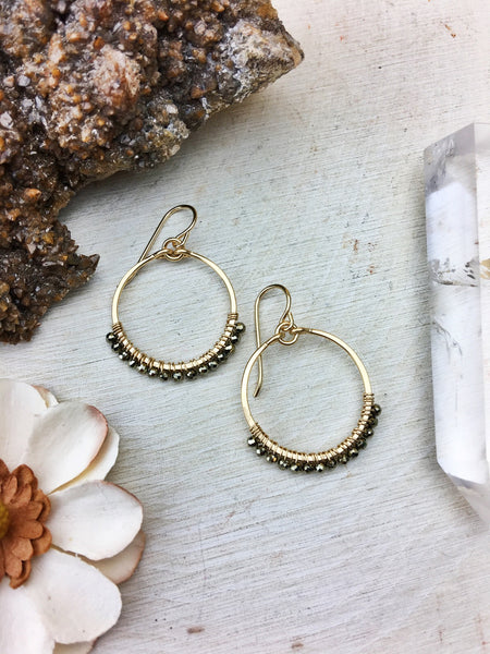 Ophelia's Hoop Earrings - Pyrite Gemstones 14k Gold Filled