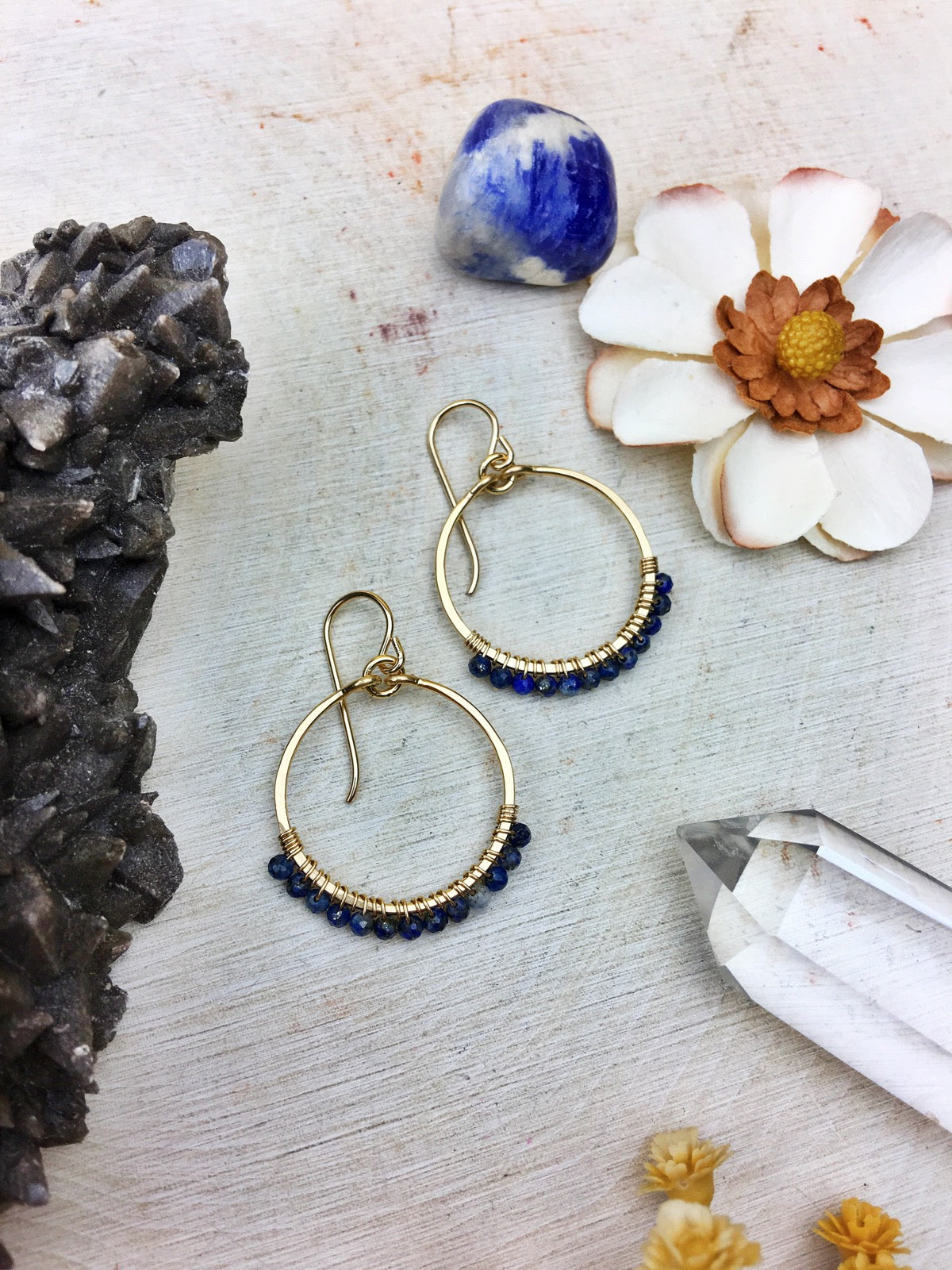 Ophelia's Hoop Earrings - Lapis Lazuli Gemstones 14k Gold Filled