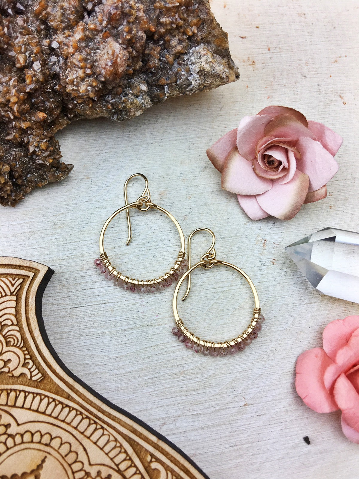 Ophelia's Hoop Earrings - Strawberry Quartz Gemstones 14k Gold Filled