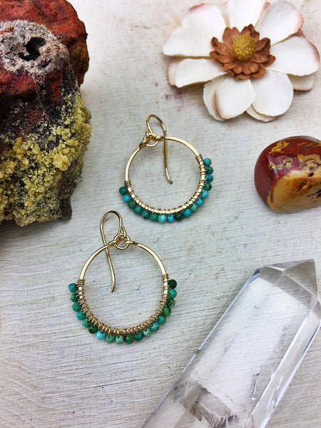 Ophelia's Hoop Earrings - Turquoise Gemstones 14k Gold Filled