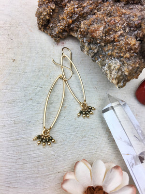 Ophelia's Contemporary Style Earrings - Pyrite Gemstone 14k Gold Filled - The Bead N Crystal & Enclave Gems