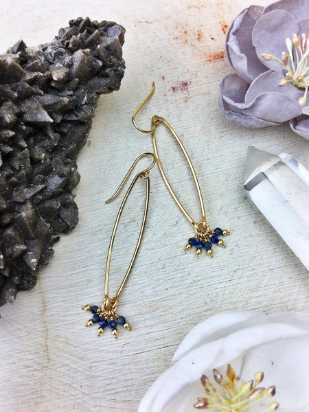 Ophelia's Contemporary Style Earrings - Lapis Lazuli Gemstone 14k Gold Filled