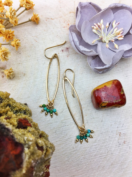 Ophelia's Contemporary Style Earrings - Turquoise Gemstone 14k Gold Filled