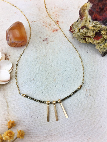 Ophelia's Contemporary Style Necklace - Pyrite Gemstone 14k Gold Filled Daggers