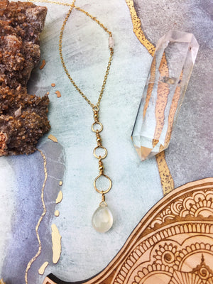 Mysti Necklace - Rainbow Moonstone Briolette Tri-Hoop Pendant 14k Gold Fill - The Bead N Crystal & Enclave Gems