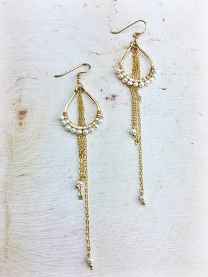 Hildur Earrings 'C' - Freshwater Pearl 14k Gold Filled Frames and Chain - The Bead N Crystal & Enclave Gems