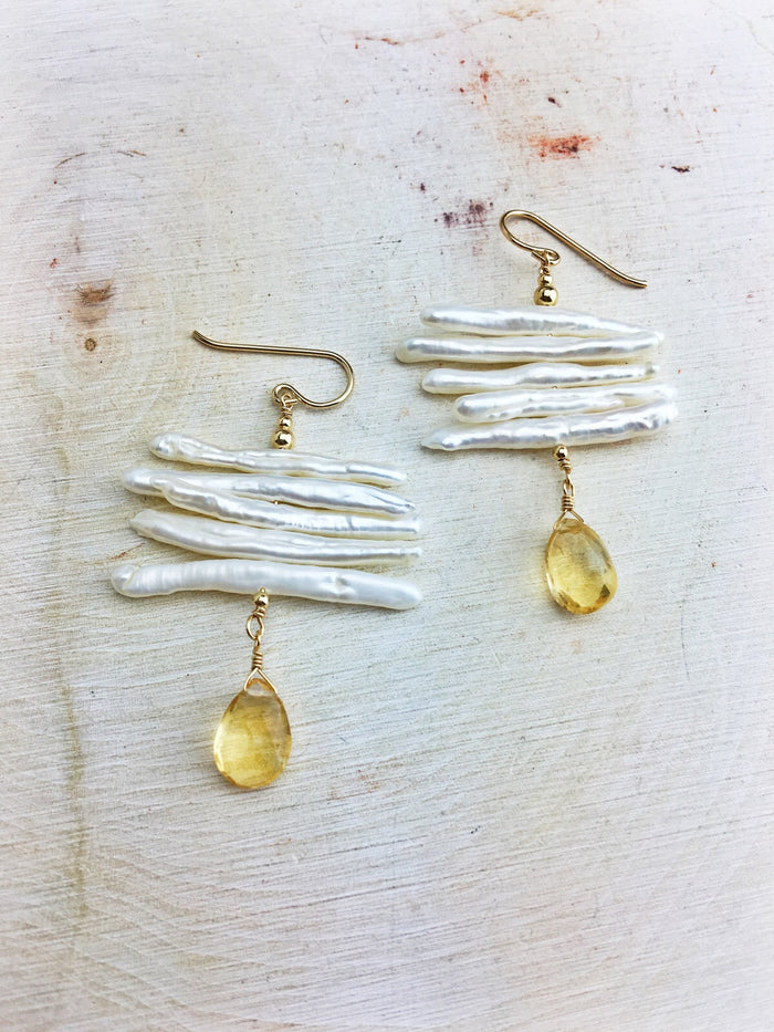 Hildur Earrings 'D' - Freshwater Pearl 14k Gold Filled Citrine Drops