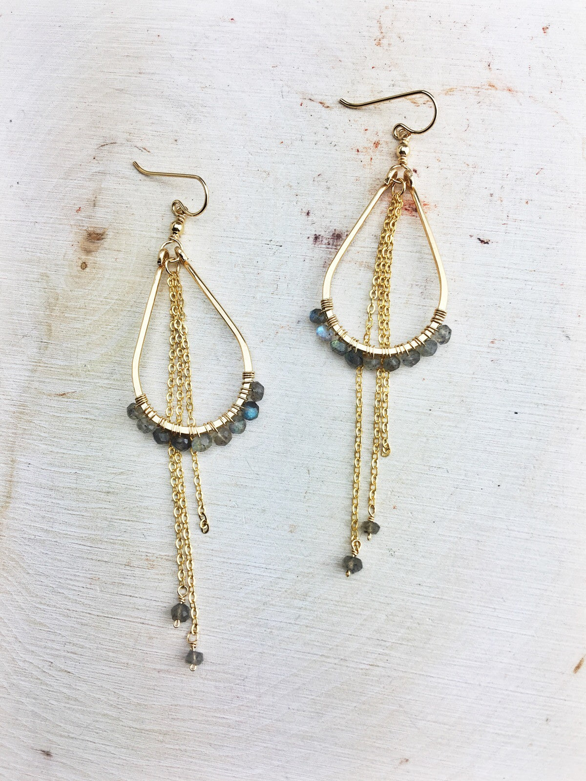 Northern Lights Earrings 'D' - Faceted Labradorite Gemstones 14k Gold Fill Frames