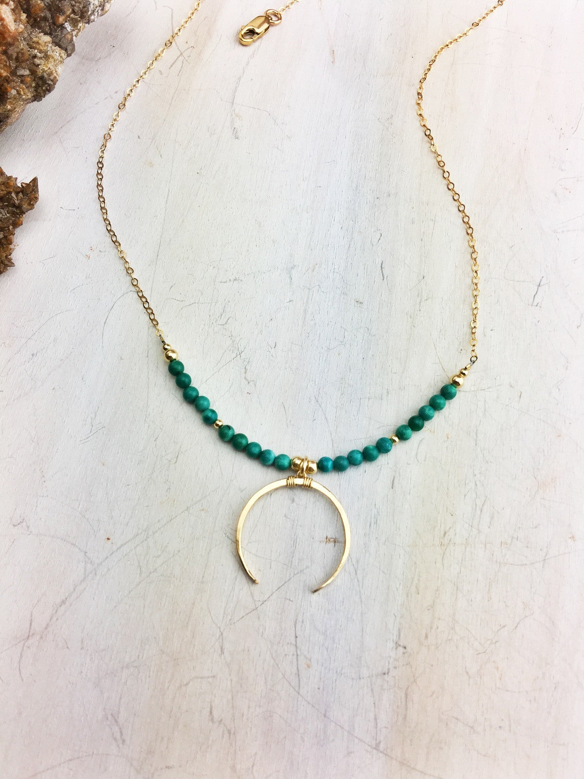 Hildur Necklace 'H' - Green Turquoise 14k Gold Filled Crescent Pendant and Chain