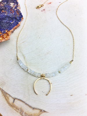La Luna Bella Necklace 'E' - Rainbow Moonstone 14k Gold Fill Chain and Crescent Pendant - The Bead N Crystal & Enclave Gems