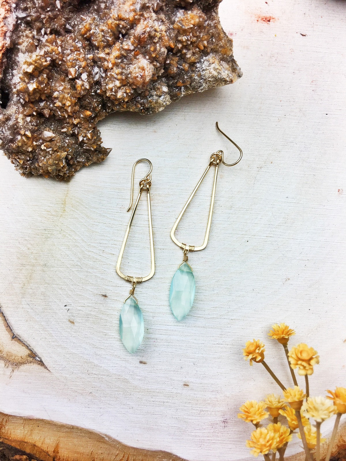 Eunica Earrings - Chalcedony Marquise Cut 14k Gold Fill Frames // Chain