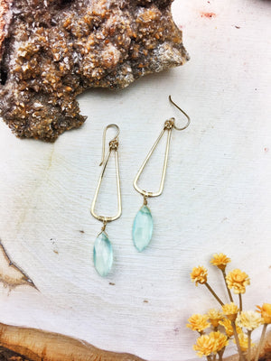 Eunica Earrings - Chalcedony Marquise Cut 14k Gold Fill Frames - The Bead N Crystal & Enclave Gems