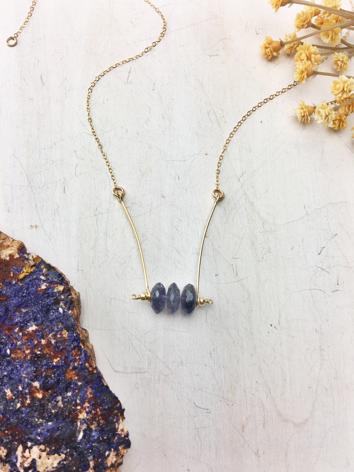 Flicka Necklace - Iolite with 14k Gold Fill Bars and Chain