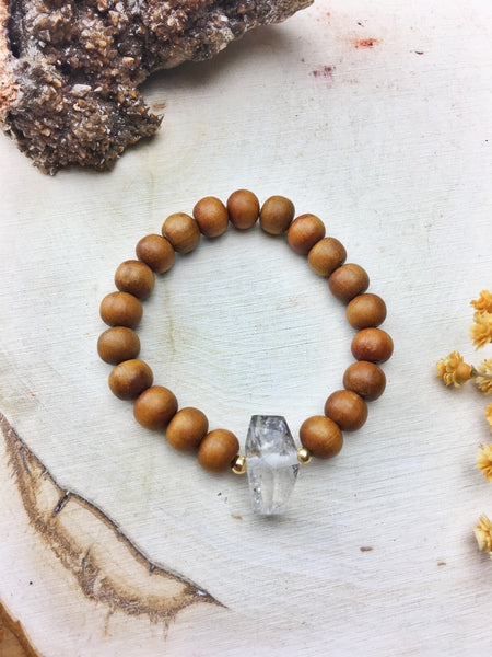 Sandalwood Bracelet with Quartz - Stretch