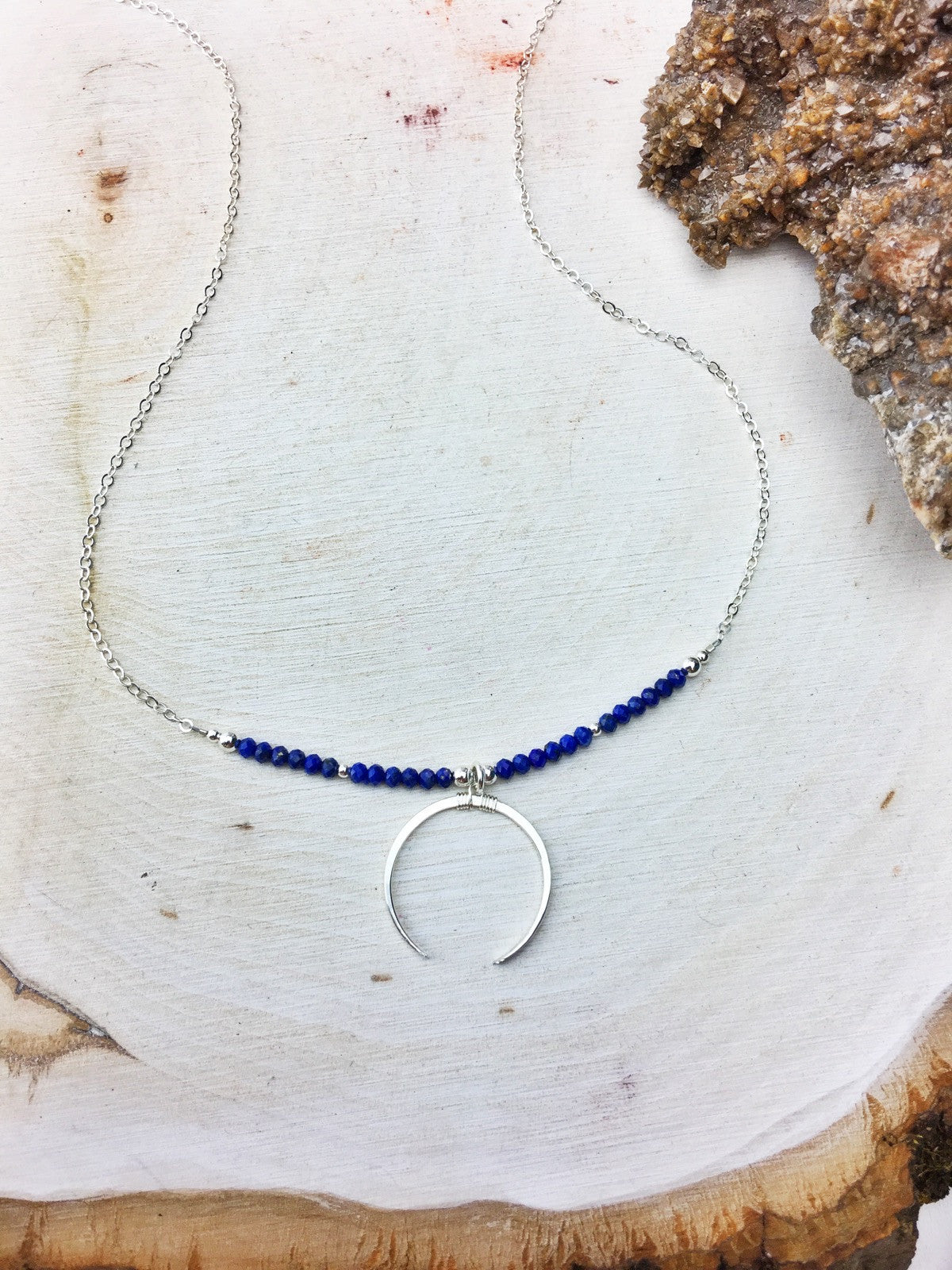 Lapis Lazuli Crescent Necklace Sterling Silver 18""