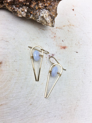 Ruhbeckuh Earrings - Chalcedony (Natural) Rondel 14k Gold Fill Framework - The Bead N Crystal & Enclave Gems