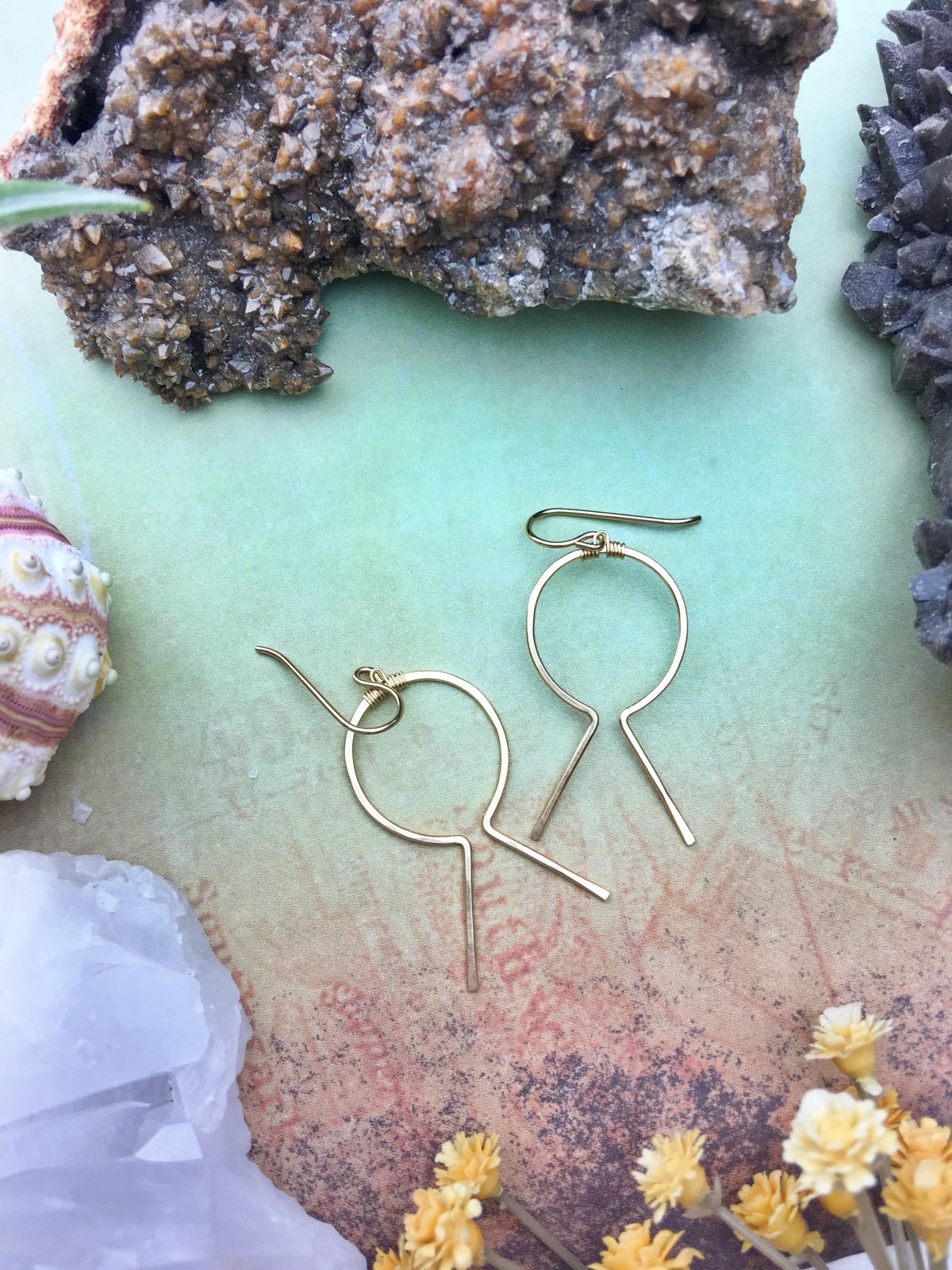 Sans-Stone - Hieroglyph Earrings - 14k Gold Fill