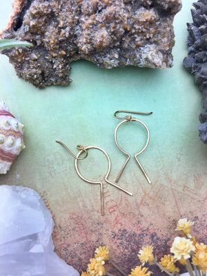Sans-Stone - Hieroglyph Earrings - 14k Gold Fill - The Bead N Crystal & Enclave Gems