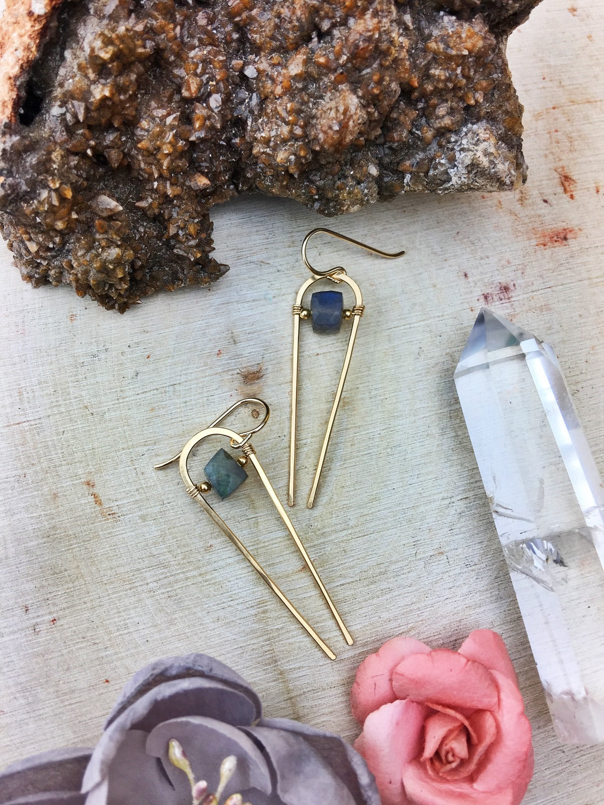 Ruhbeckuh Earrings - Labradorite Cube14k Gold Fill Framework