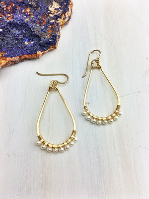 Hildur Earrings 'H' - Freshwater Pearls on a 14k Gold Filled Frames - The Bead N Crystal & Enclave Gems