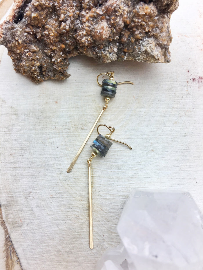 Golden State Earring A - Labradorite Stack 14k Gold Fill Dagger