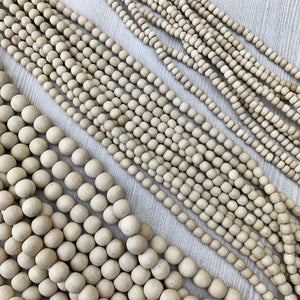 Natural White Wood Strands 4-10mm - The Bead N Crystal & Enclave Gems