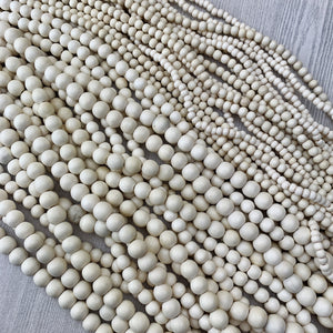 White (bleached) Wood Strands 4-10mm - The Bead N Crystal & Enclave Gems