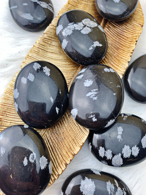 Snowflake Obsidian Palm Stone (654) - The Bead N Crystal & Enclave Gems