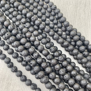 Lava Rock Black 6 mm - The Bead N Crystal & Enclave Gems