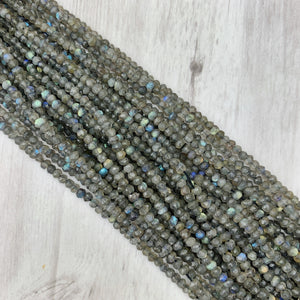 Labradorite Gemstone Rondelle - 3mm - The Bead N Crystal & Enclave Gems