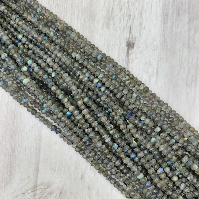 Labradorite Gemstone Rondelle - 3mm